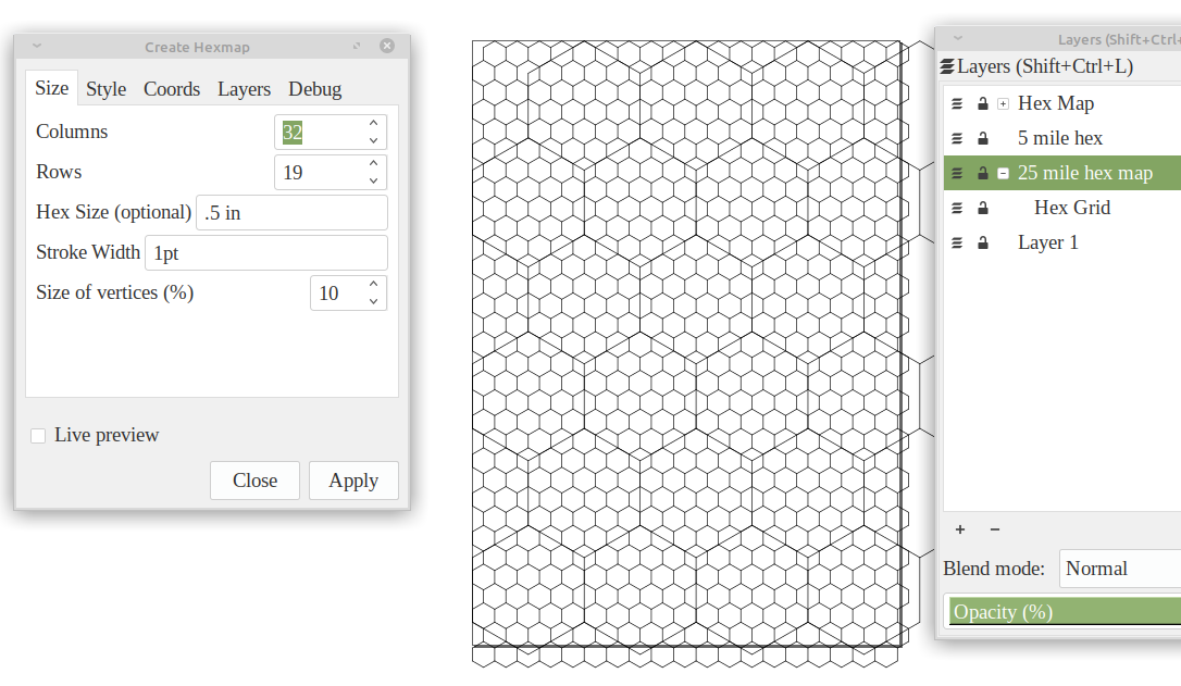 screen capture of hexmap inkscape extension and a page of with smaller hexes
