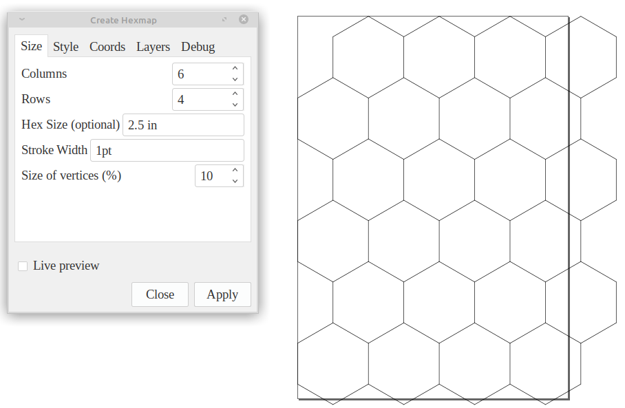 screen capture of hexmap inkscape extension and a page of hexes