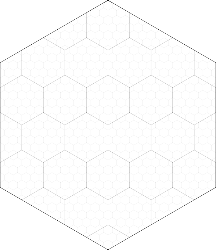 screen capture of hexmap with 1 large hex, many smaller hexes inside that, and even smaller hexes inside those